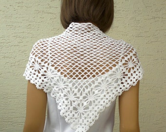 Crochet white neck shawl, scarf, weft, crochet collar, gift for her, christmas gift for her, spring fashion, womens clothing, accessories