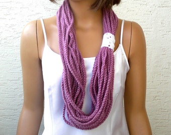 Crochet chain scarf, crochet womens chain scarf, infinity scarf, circle scarf, womens scarf, girls scarf, gift for her, pick your color