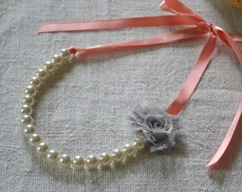 Rose: BUILD YOUR NECKLACE - Ivory Pearls, Coral Ribbon Tie, Gray Flower - Bridesmaid or Flower Girl