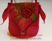 Wet Felted Purse, Wet Felted Handbag, Cross Body Bag, Pink Purse, Red Purse