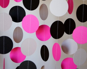 Hot Pink, Gray & Black Circle Paper Garland, Wedding, Bridal Shower, Birthday, Baby Shower, 10 feet long