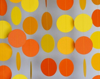 Orange & Yellow Birthday Party Decor, Yellow Paper Garland, Summer Garland, Orange Yellow Wedding Decor, 10 ft. long