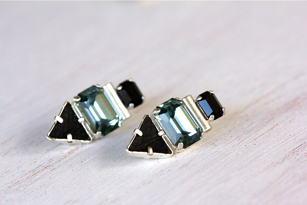 Stud earrings, Geometric earrings, Crystal earrings.