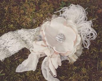 Vintage Lux Ivory Cream and nude Handmade Flower Headband, Feathers, Handrolled silk rosettes, pearls, Crystals veiling