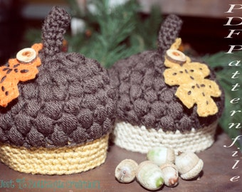Crochet Pattern 126 - Crochet Little Acorn Hat - Newborn to 1 to 2 yr sizes - Acorn hat pattern - Not a finished product - instant download