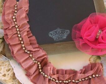 Pink Ruffled Ribbon with Rhinestones, Rhinestones, Romantic Ribbons, Romantic Trims, Shabby Style, Cottage Chic, Ruffles, Ruffled Pink Trim