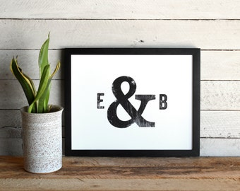 Custom Typographic Initials Poster • Distressed Initials and Ampersand Print • Graphic, Modern, Minimalist Style • Farmhouse Decor Wall Art