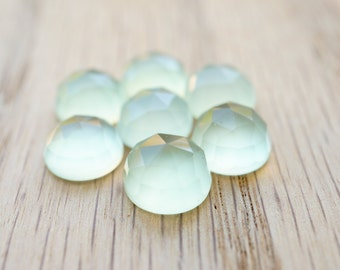 10mm Lime Chalcedony faceted cabochon. bright green lime green milky green gem rose cut chalcedony gem