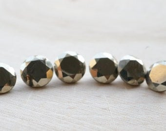 6mm golden pyrite gemstones. faceted pyrite. fools gold. gold stone. brilliant cut - 2 pieces