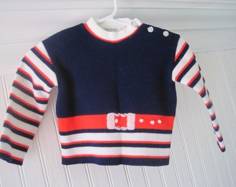Vintage two piece sweater & shorts set, made by Soft Spun, size 9 months