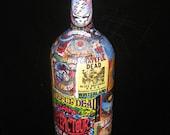 GRATEFUL DEAD Psychedelic Decoupage on Giant Wine Bottle