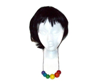 Gay Pride Necklace - Rainbow -Lesbian - Gay - Transgendered - LGBTQ -  Colorful - Bright - Wooden Beads