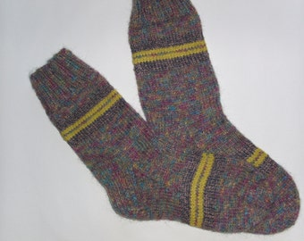 Hand Knit Wool Socks - Colorful Wool Socks for Men -Mens Socks -Size Medium US 9,5-10,EU43-House Wool Socks
