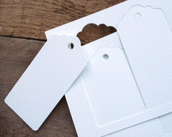 Gift Tags, Recycled card swing tags, Packs of 10 or 30 in Textured White