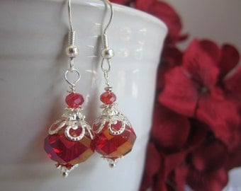 Red Sparkly Bridesmaid Earrings Red Wedding Fall Wedding Bridal Party Maid of Honor