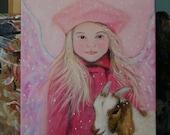 Original 9 x 12 Child Angel Acrylic Painting, Inspirational, Children's Decor, Nursery Room, Goat, Angel, Earth Angel, Pink, Girl's room