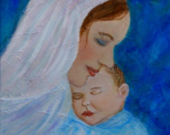 "Original Fine Art 8 by 10 print called ""Nuturing Love Of A Motherl"" by Charlotte Phillips"