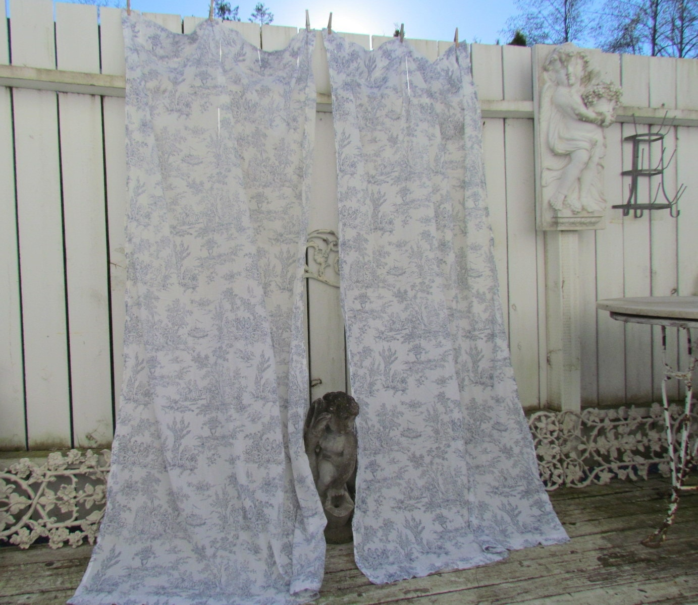 French Blue Light And Airy Toile Curtain Pair