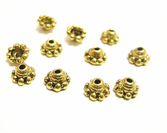 50pc 5mm antique gold finish bead caps-8382