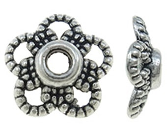24pc antique silver finish 11mm metal bead cap-9045