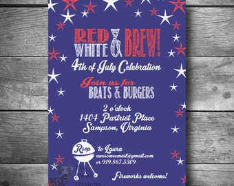 Fourth Of July Invitation With Star Spangled Banner, 4th Of July Party  Invite, Printable