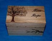 Decorative Rustic Wood Wedding Recipe Card Box Wood Burned Recipe Box Wedding Tree Wooden Guest Book Box Personalized Carved Owl Love Birds