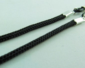 Simple Black Cord Eyeglasses Chain for men or women - glasses cord - reading glasses lanyard - eyeglasses leash - parachute cord