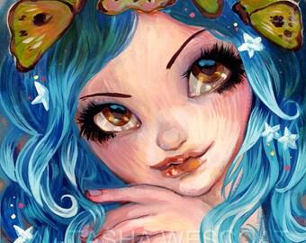Blue Fairy Fantasy art, Butterflies In Her Hair, gothic art,   Fine Art PRINT by Natasha Wescoat 8x10 12x16 13x19 16x20