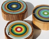 Set of 3 Reclaimed Wooden Wall Art Hand Painted Tree Rings on Barn Beams -    (3RWWATR1)