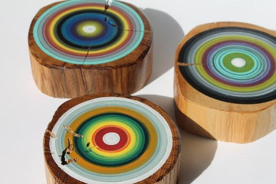Set of 3 Reclaimed Wooden Wall Art Hand Painted Tree Rings on Barn Beams -    (3RWWATR1)