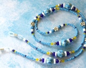 O O A K - Handmade Polymer Clay & Glass Beaded Eyeglass Holder Leash - GARDEN BLUES - I128