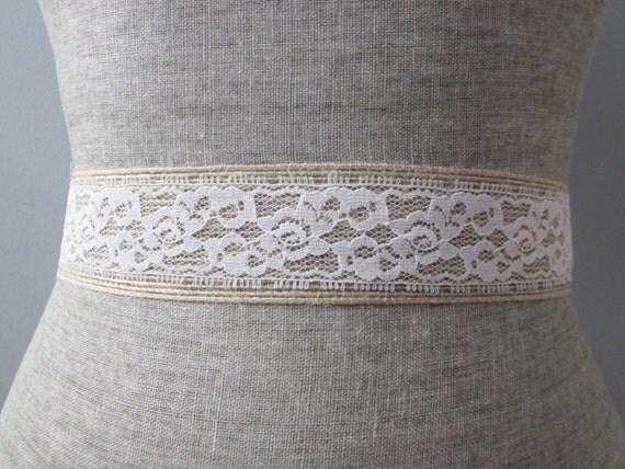 Burlap & White Lace sash / belt