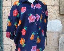 free shipping Gottex blouse size large made in Israel circa 1976's pre-owned