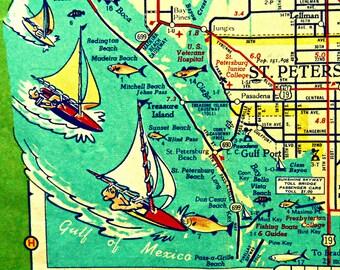 St Petersburg Florida Map art print, mid century modern art, St Petersburg beach house, Dad Gift St Petersburg Gift sailboats, Pass-A Grille
