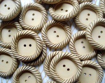 Buy One Get One Free - Beige Square Round Buttons - 14 Vintage Tan Crimped buttons - French Beige Swirl Buttons