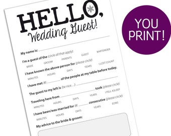 Funny Marriage Advice Card for Wedding Reception, Printable PDF