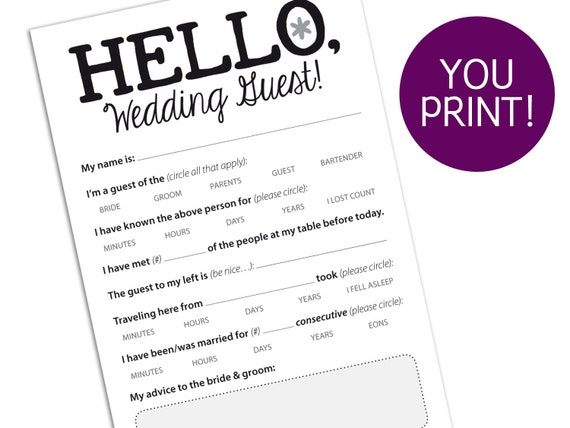 Funny Marriage Advice Card For Wedding Reception Printable