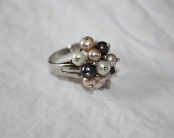 Vintage Pearl Ring, Cluster Pearl ring, Sterling Cocktail Ring, Pink White Black 1960s Jewelry Statement Boho