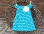 Girls Dress, Girls Aqua Blue Dress, Kids Summer Dress, Blue Polka Dot Dress, girls Peasant dress, butterfly sleeves