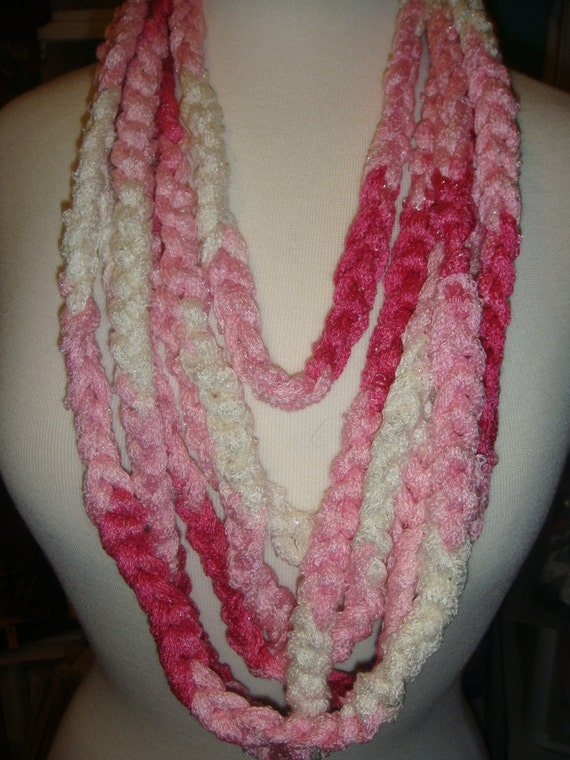 Crochet Scarf Pattern With Red Heart Sashay : Items similar to Crochet scarf/necklace with Red Heart ...