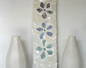 Vintage Flower Mosaic Panel Wall Art - Blue, Green, Lilac with Ivory background with hanging clip