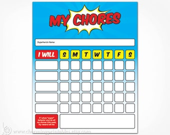 Printable Chore Chart for Boy - INSTANT DOWNLOAD - Boy Toddler Kids Children Superhero Weekly Reward Chart - Chore Card Dry Erase Frame