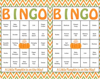 60 Baby Shower Bingo Cards - Printable Party Baby Boy or Girl - Instant Download - Little Pumpkin Theme Baby Shower Gift Bingo N016