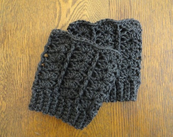 Crochet Boot Toppers Charcoal Gray Warm Acrylic Boot Cuffs 22 Colors