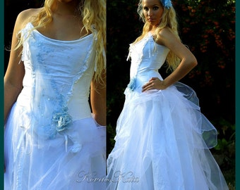 Fairy Tale Inspired Corseted Wedding Gown with Something Blue OOAK - Lucia Ball Skirt Version