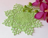 Crochet doily Green crochet doilies Small lace doilies Crocheted cotton doilie Home decor
