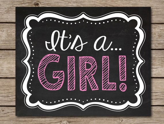 its a girl printable chalkboard pregnancy announcement sign