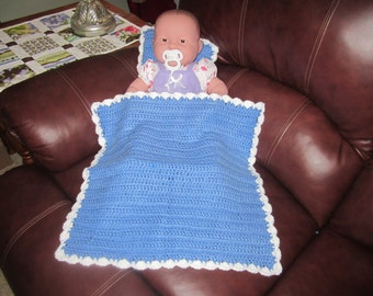 Blue and White Doll Blanket and Pillow Set