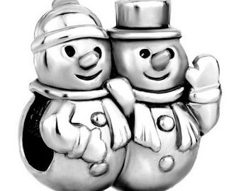 Snowman Couple   Spacer Bead  For European Style Charm Bracelet - Silver Plated