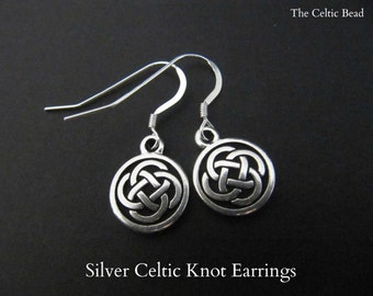 Silver Celtic Knot Irish Earrings
